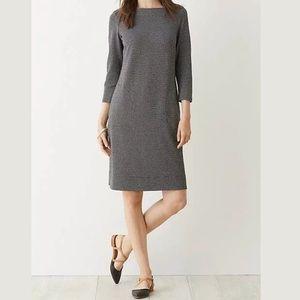 J. Jill Ponte Black White 3/4 Sleeved Dress SZ L